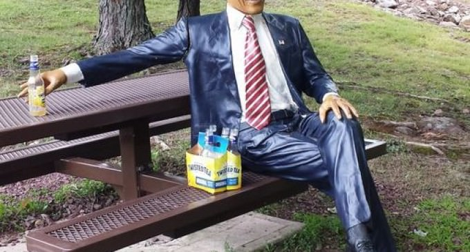 Obama Statue Stolen From Porch, Found Later With Empty Bottles Of Alcohol And Cigarette