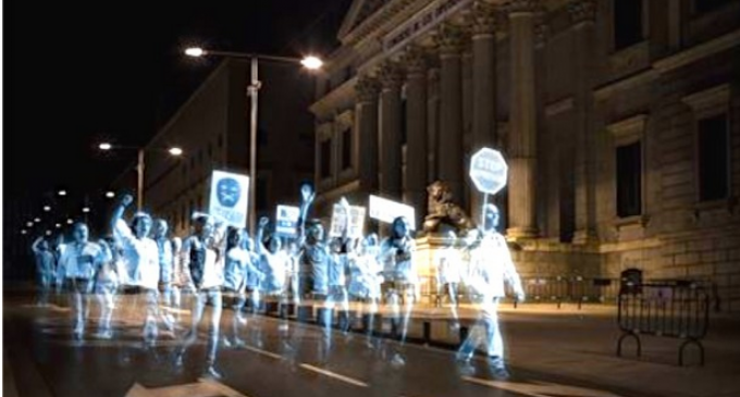First Hologram Protest in History Held Against New, Draconian Laws In Spain