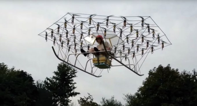 British Man Builds Chopper From 54 Drones