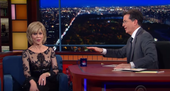 """Stephen Colbert to Jane Fonda: """"You are an icon of your generation"""""""