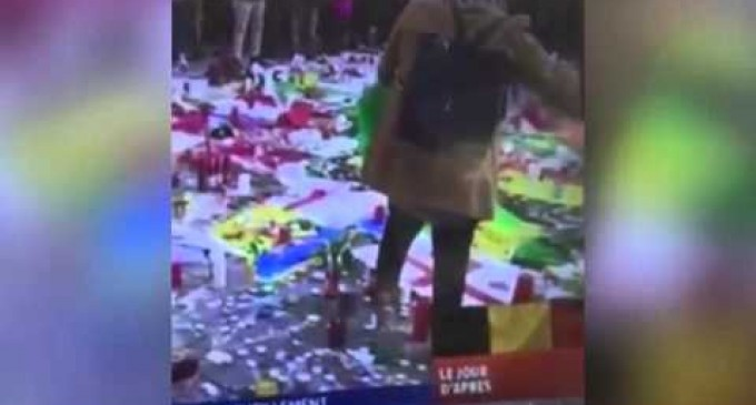 Video Shows Muslim Woman's Disgraceful Act at Brussels Memorial