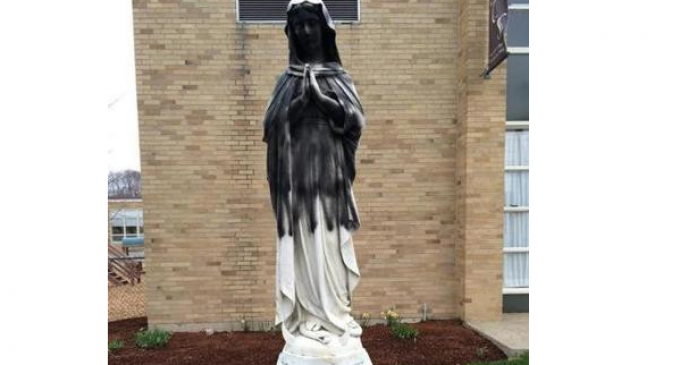 Virgin Mary Statue Desecrated by Muslim Vandals