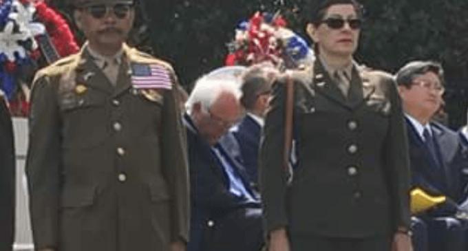 Bernie Sanders Naps during Memorial Day Ceremony