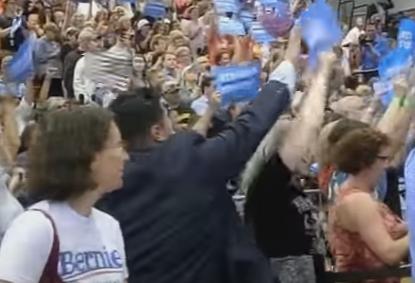 Hillary Goon Suppresses Bernie Supporter's Freedom of Speech
