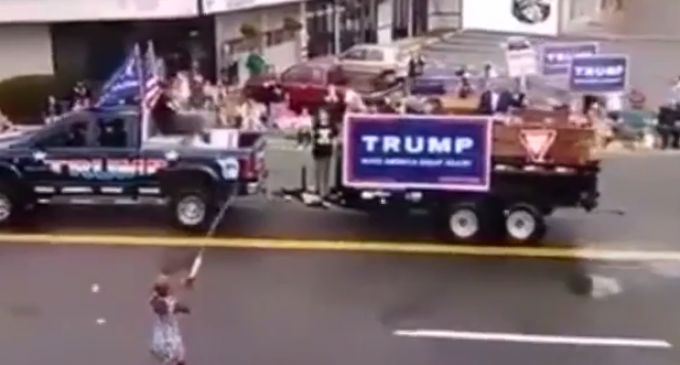 Trump Float Attacked by Group of Protestors