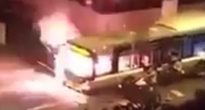 Migrant Mob Shouts  'Allahu Akhbar' as They Torch Bus