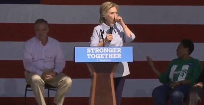 hillary coughing cleveland plane