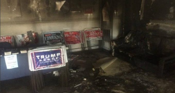 """GOP Office Firebombed: """"Nazi Republicans leave town or else"""""""
