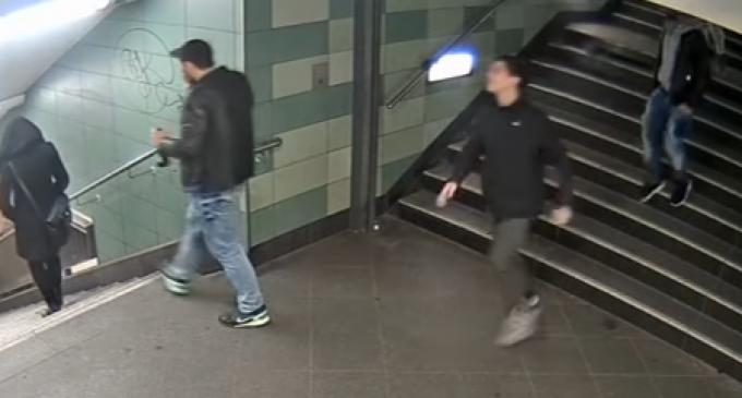 Uncensored Video: Migrants Kick German Girl Down Stairs