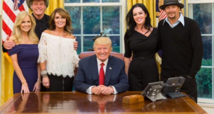 Kid Rock, Sarah Palin, and Ted Nugent Visit Trump, Troll Hillary Clinton
