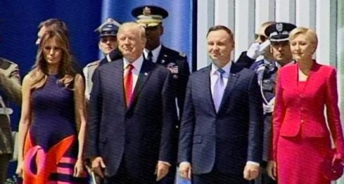 Polish Crowd Chants 'USA!' During Trump Event
