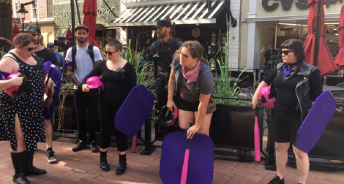 Antifa Crashes Charlottesville Victim's Memorial Service with Pink Bats