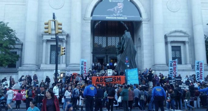 Leftist Anarchists Protest Statue of Teddy Roosevelt