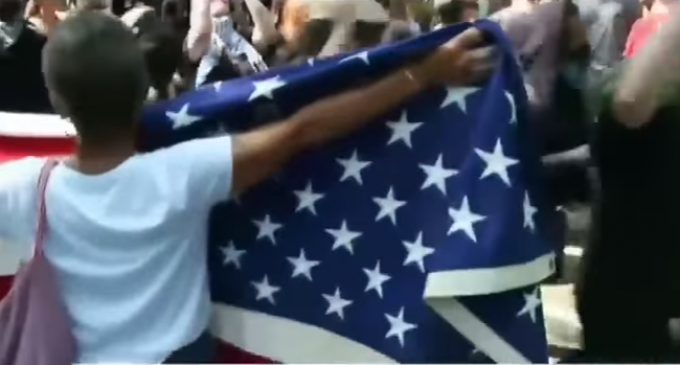 Old Woman Carry American Flag Dragged by Antifa Thugs, No Arrests [VIDEO]