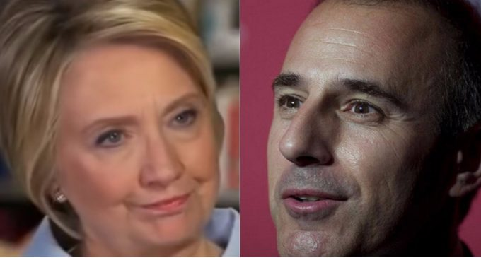 Hillary: 'Lauer Being Fired is His Karma for Asking Me About My Private Server'