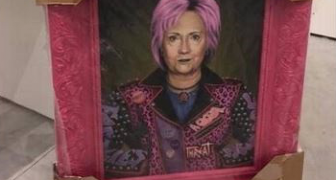 Hillary Clinton Painting Triggers Service Dogs, Shuts Down Art Festival