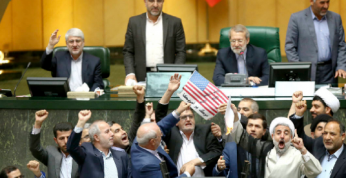 """Iranian Lawmakers Burn US Flag in Parliament, Shout """"Death to America"""""""