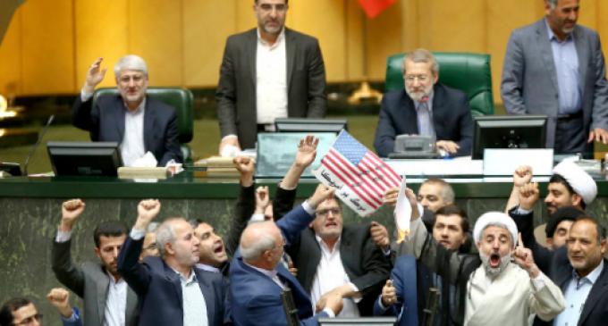 "Iranian Lawmakers Burn US Flag in Parliament, Shout ""Death to America"""