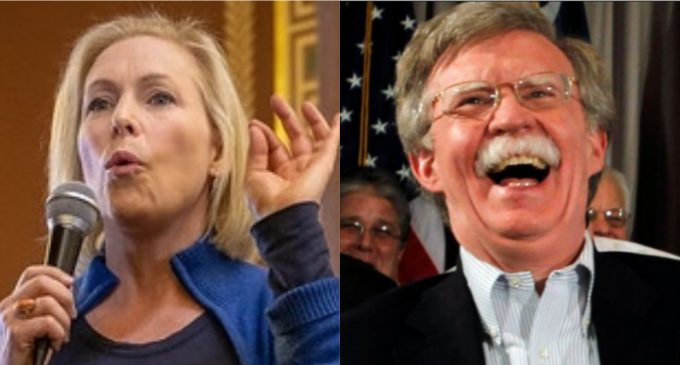 Bolton Can't Stop Laughing at Gillibrand's 'Tactile' Nuclear Weapons Gaffe