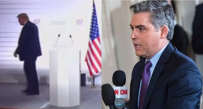 Jim Acosta Heckles President Trump as He Walks Off Stage at G7