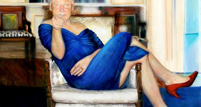 Epstein Had Painting of Bill Clinton Wearing Blue Dress and Red Heels
