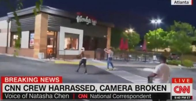 CNN Crew Attacked by Protesters Outside Wendy's in Atlanta