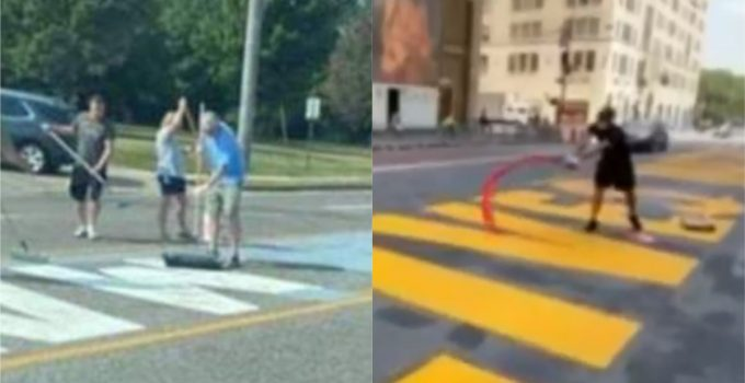 Missouri Cops Protect Protesters Painting Blue Line Over BLM Street Mural