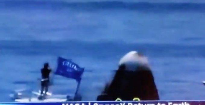 Boater with Trump Flag Gatecrashes SpaceX Craft Splashdown