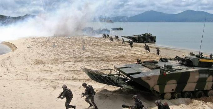China's Military Conducts Beach Landing Assault Drills Directly Across from Taiwan