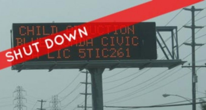 Amber Alert system suffers from gov't shut-down?