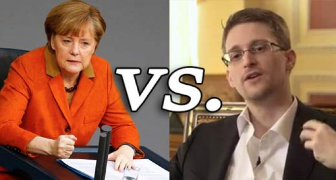 German Chancellor Merkel vs Edward Snowden on International Gov't Spying