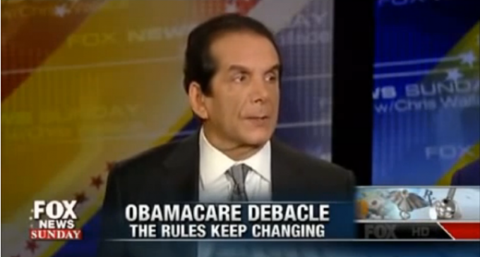 Krauthammer: To Save Obamacare We Will Bail Out Insurance Companies
