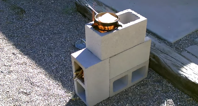 A Simple 4 Cinder Block Stove in 5 Minutes
